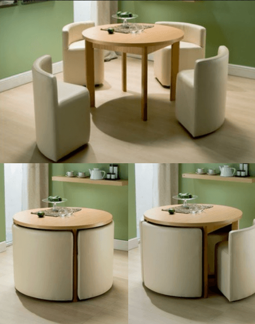 Round dining table chairs for small homes for Round space saving dining table and chairs