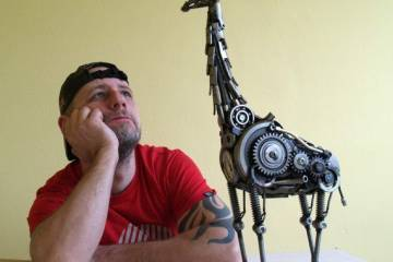 Steampunk: Giraffe Metal Sculpture