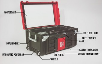 Coolbox Toolbox: Phone Charger + Whiteboard + Bluetooth